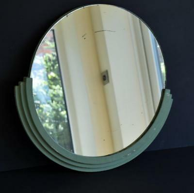 RARE ORIGINAL 1930s ART DECO BATHROOM MIRROR with STEPPED WOOD HALF-MOON HOUSING