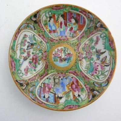 Chinese Canton Famille Rose Medallion Porcelain Saucer, 19Th Century