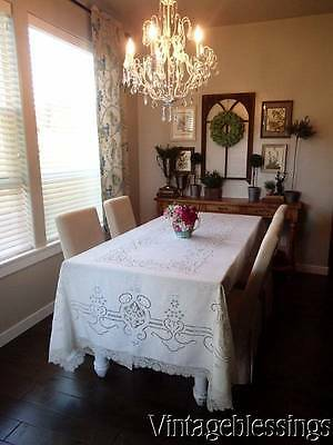 FINE Antique Handmade Point de Venise Large BANQUET Tablecloth & 10 napkins