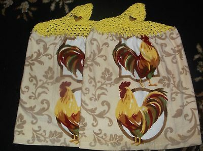 "Crochet Top ""colorful Roosters"" Design Kitchen Towels Set Of 2 Towels"