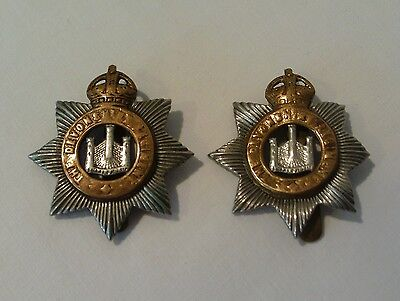 2 x VINTAGE THE DEVONSHIRE REGIMENT CAP BADGES
