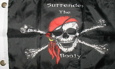 BOAT 3x5 ft Jolly Roger PIRATE SURRENDER THE BOOTY BOAT SIZE REAL FLAG