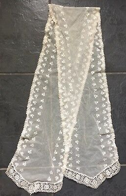 antique floral net lace scarf approx 4 1/2 ft