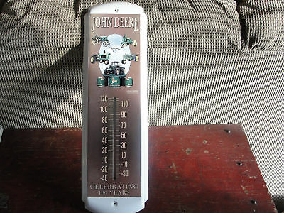 official John Deer Tractor advertising working metal collectible THERMOMETER