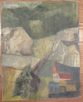 Vintage signed cubist/expressionist landscape oil painting on canvas 16x20