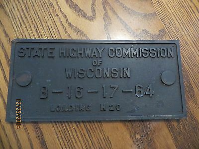 STATE HIGHWAY COMMISSION OF WISCONSIN BRASS BRIDGE SIGN PLAQUE SUPERIOR/Duluth