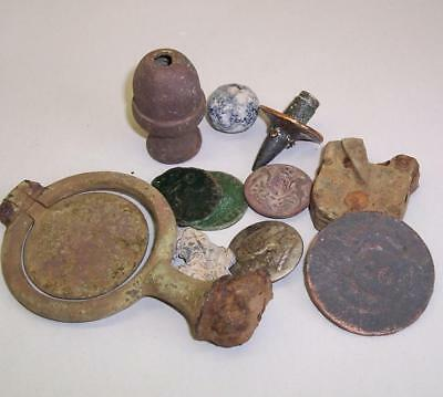METAL DETECTOR FINDS Trench Art PENNY with Shot BULLET TIP/Buttons/Coins etc WW1