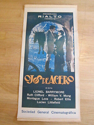 BROODING EYES Lionel Barrymore Ruth Clifford 1926 Argentina poster