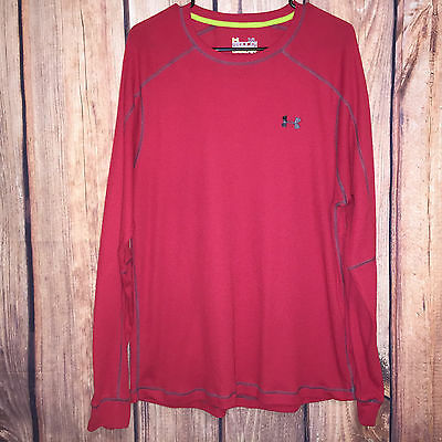 Euc Mens Red Under Armour All Season Catalyst Thermal L/s Athletic Shirt Xl