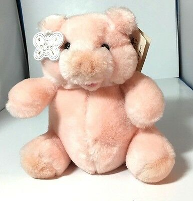 Russ Berrie Caress Soft Pets Puckers Pig # 7750 Retired New w All Tags
