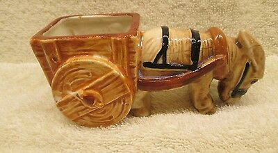 Vintage Ceramic Donkey With Cart Figurine. Made in Occcupied Japan.Morikin Ware