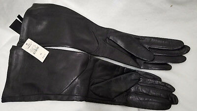 NWT Talbots Long Black Leather Gloves W/ Silk Lining Size M (750)