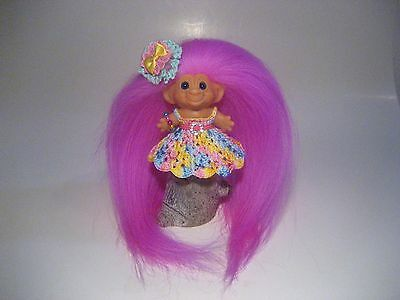 Vintage 1960's Scandia Dam Troll Doll Original Blue Eyes New Mohair Clothes P