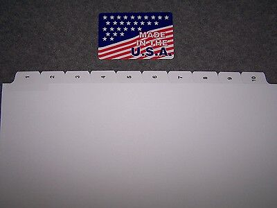 1-10 Numbered Index Tabs 50 SETS  NO holes for GBC or Spiral binding