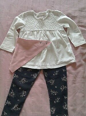 🐰 Nutmeg Baby / Toddler White Cotton and Lace top VGC