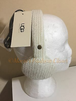 New UGG Australia Cardy Knit Ivory Shearling Classic Wired Speaker Earmuffs OS