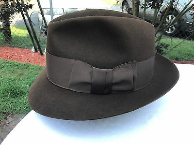 "Vintage Knox Fedora Hat 7 3/8 ""The Fifth Avenue"" Lightweight Fur Felt!"