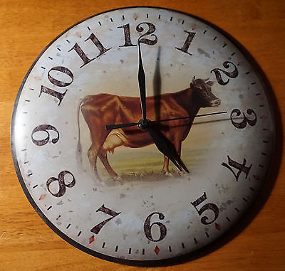 Rustic Primitive Style Brown Country Milk Cow Farm Kitchen Decor Wall Clock NEW