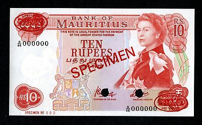 Bank of Mauritus. 10 Rupees. ND (1967) P-31c for the type. Unlisted as specimen.