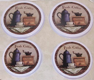 Set of 4 Coffee Themed Stove Burner Covers 2 Large 2 Small