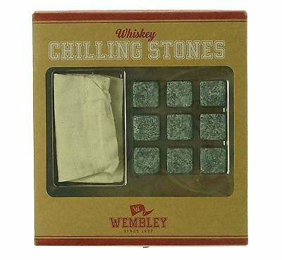 Wembley NEW Gray Whiskey Nine-Natural Chilling Stones And Pouch Set $30 #337
