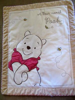 Disney Baby A BEAR NAMED POOH Crib Quilt Classic Bear Comforter Embroidered Bees