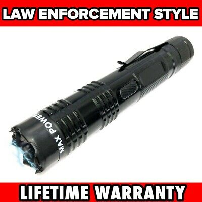 BLACK MONSTER Metal Stun Gun 16 Million Volt Rechargeable LED Flashlight New!