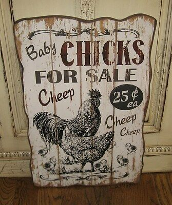 BiG Chicken Rooster Wood Picture Sign*Primitive Farmhouse Kitchen Barn Decor