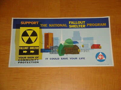 1962 Atomic Age Cold War Civil Defense Fallout Shelter Poster  Near Mint Cond