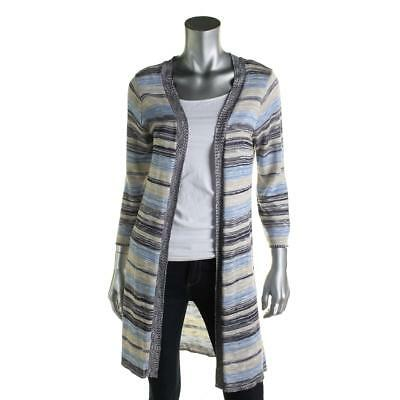 NY Collection 1679 Womens Blue Striped Open Front Duster Sweater Top L BHFO