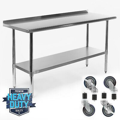 "Stainless Kitchen Restaurant Prep Table w/ Backsplash and 4 Casters - 24"" x 60"""