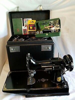 1950 Singer Featherweight Sewing Machine 221-1 with Extras.