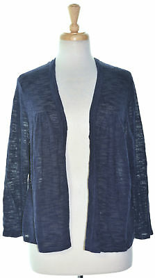 Charter Club 3743 Size Large L Navy Knitted Cardigan Sweater Open Knit-Back