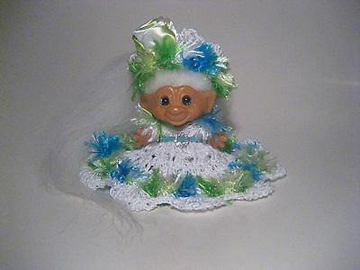 Vintage 1960's Scandia Dam Troll Doll New Teal Blue Eyes New Mohair Clothes W