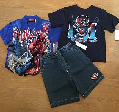 NEW Boys Marvel SpiderMan 3 Pc Outfit Sz 6 2 Top Shirt Shorts NWT Spider-Man