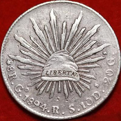 1894 Mexico 8 Reales Silver Foregin Coin Free S/H