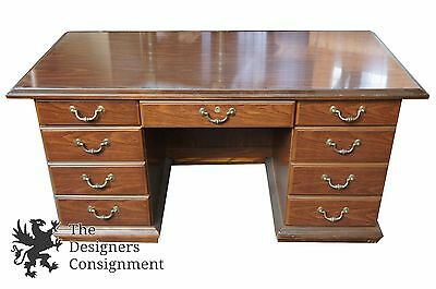 """Traditional 60"""" Office Library Desk 7 Drawers Brass Pulls Vintage"""