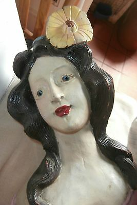 """MUSEUM antique wood carved  Lg 20"""" Lady BUST *BOAT  FIGURE*DECOR  glass eye"""