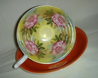Lovely Vintage Aynsley Roses  Cup & Saucer Orange Colourway