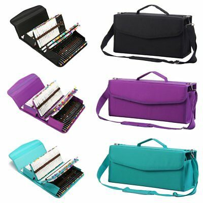 Large Art Markers Pens Bag 120 Slots Multi-Layer Storage Portable Carry Case