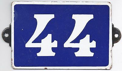 Old blue French house number 44 door gate plate plaque enamel metal sign steel