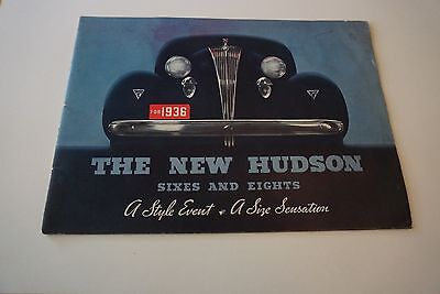 "1936 Hudson New Sixes & Eights Automobile Brochure Color 8"" x 11"" 28 Pages GOOD"