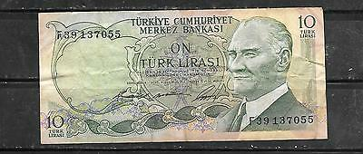 Turkey #180 1966 Vf Circ  Old 10 Lira Banknote Paper Money Currency Note