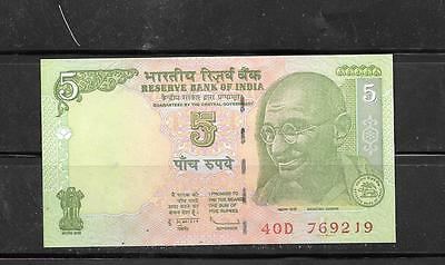 India #94A 2009 5 Rupee Unc Mint Currency Banknote Bill Note Paper Money