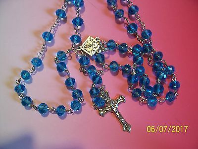 KNIGHTS OF COLUMBUS Rosary- Powder Blue Crystal 20 inches