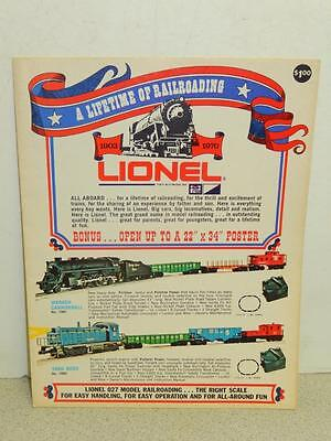 Lionel 1970 Fold Out - First Color Catalog From Mpc- New- W21