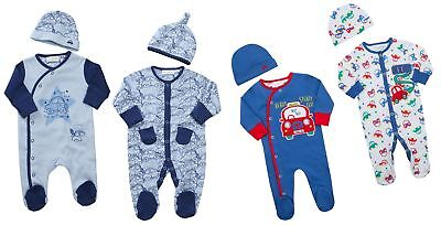 Babytown Baby Boys Car Design Sleepsuit & Hat Set