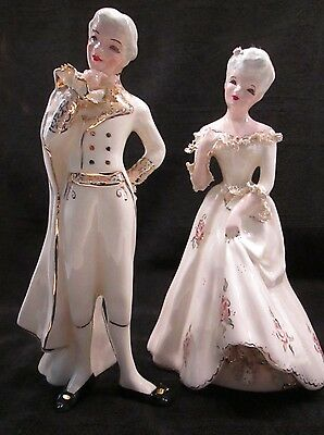 Set of  Vintage Ceramic Figurines.  Lady & Gentleman. Made By Florence Cerations