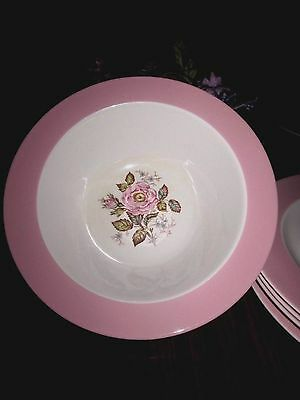 HOMER LAUGHLIN EGGSHELL MOSS ROSE VEGETABLE BOWL~PINK RIM~9 in.