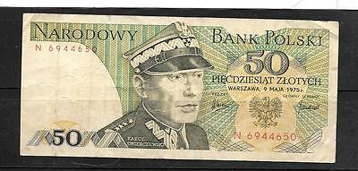 POLAND #142a VERY GOOD CIRCULATED 1975 50 ZLOTYCH OLD BANKNOTE NOTE PAPER MONEY